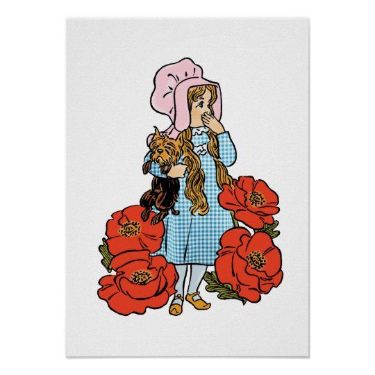 Vintage Wizard of Oz, Dorothy, Red Poppy Flowers Poster