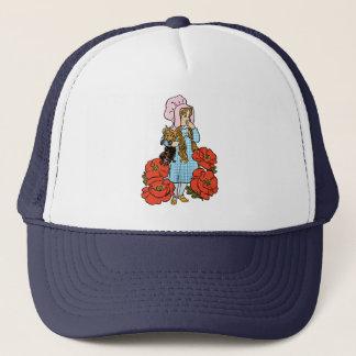 Vintage Wizard of Oz, Dorothy, Red Poppy Flowers Trucker Hat