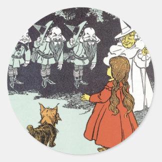 Vintage Wizard of Oz Dorothy Toto Glinda Munchkins Classic Round Sticker