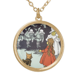 Vintage Wizard of Oz Dorothy Toto Glinda Munchkins Gold Plated Necklace