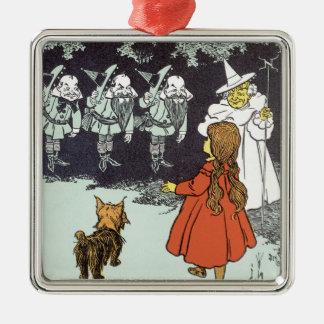 Vintage Wizard of Oz Dorothy Toto Glinda Munchkins Metal Ornament