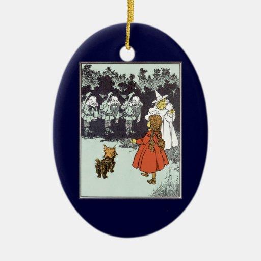 Vintage Wizard of Oz Dorothy Toto Glinda Munchkins Christmas Ornament