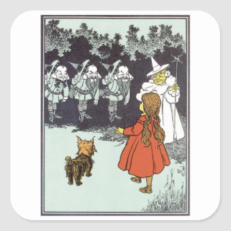 Vintage Wizard of Oz Dorothy Toto Glinda Munchkins Square Sticker