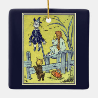 Vintage Wizard of Oz, Dorothy Toto Meet Scarecrow Ceramic Ornament