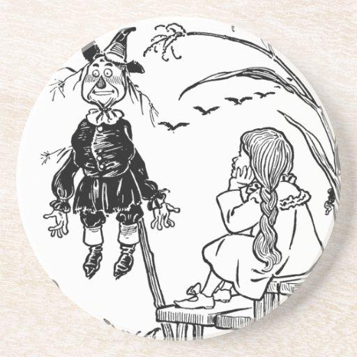 Vintage Wizard of Oz; Dorothy Toto Meet Scarecrow Drink Coasters