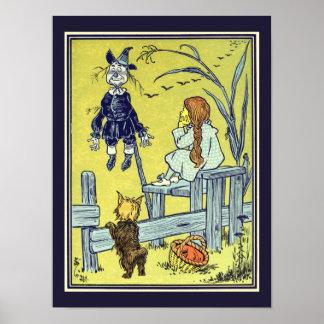 Vintage Wizard of Oz, Dorothy Toto Meet Scarecrow Poster