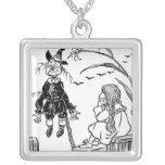 Vintage Wizard of Oz, Dorothy Toto Meet Scarecrow Square Pendant Necklace
