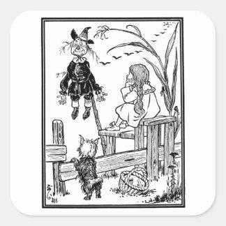 Vintage Wizard of Oz, Dorothy Toto Meet Scarecrow Square Sticker