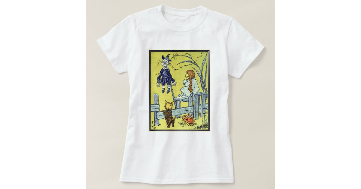 Vintage wizard of oz dorothy toto meet scarecrow t shirt for Wizard t shirt printing
