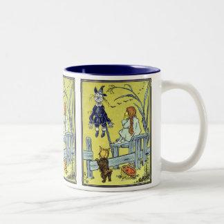 Vintage Wizard of Oz, Dorothy Toto Meet Scarecrow Two-Tone Coffee Mug