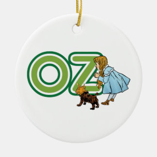Vintage Wizard of Oz Dorothy Toto with BIG Letters Ceramic Ornament