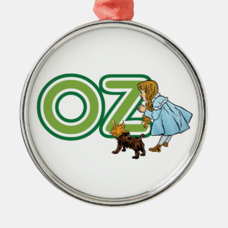 Vintage Wizard of Oz Dorothy Toto with BIG Letters Metal Ornament