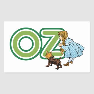 Vintage Wizard of Oz Dorothy Toto with BIG Letters Rectangular Sticker