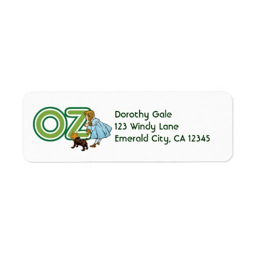 Vintage Wizard of Oz; Dorothy Toto with Letters OZ Custom Return Address Labels