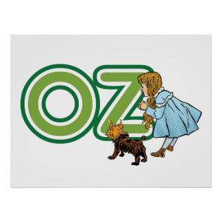 Vintage Wizard of Oz, Dorothy Toto with Letters OZ Posters
