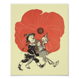 Vintage Wizard of Oz, Dorothy with Poppy Flowers Poster