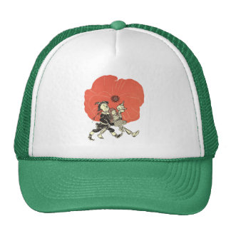 Vintage Wizard of Oz, Dorothy with Poppy Flowers Trucker Hat