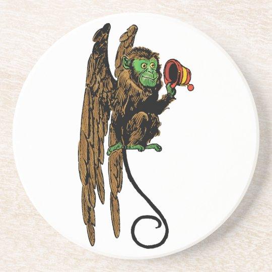 Vintage Wizard of Oz, Evil Flying Monkey Hat Sandstone Coaster