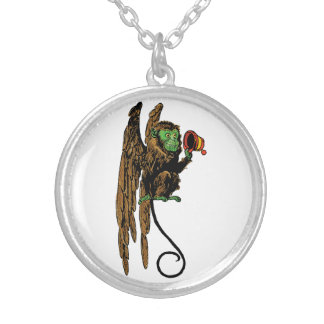 Vintage Wizard of Oz, Evil Flying Monkey Hat Silver Plated Necklace