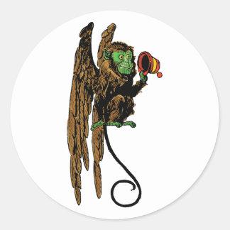 Vintage Wizard of Oz, Evil Flying Monkey Hat Classic Round Sticker
