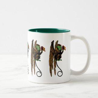Vintage Wizard of Oz, Evil Flying Monkey Hat Two-Tone Coffee Mug