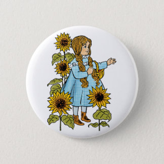 Vintage Wizard of Oz Fairy Tale Dorothy Sunflowers Button