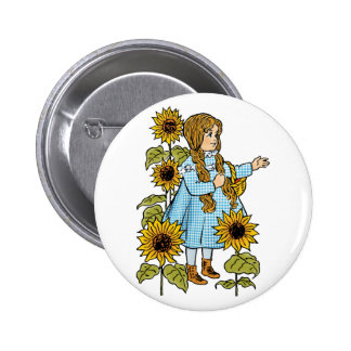 Vintage Wizard of Oz Fairy Tale Dorothy Sunflowers 2 Inch Round Button