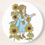 Vintage Wizard of Oz Fairy Tale Dorothy Sunflowers Drink Coaster