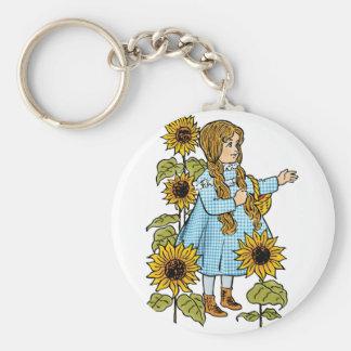 Vintage Wizard of Oz Fairy Tale Dorothy Sunflowers Keychain