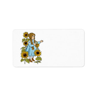 Vintage Wizard of Oz Fairy Tale Dorothy Sunflowers Custom Address Label