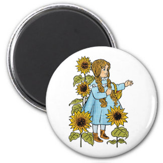 Vintage Wizard of Oz Fairy Tale Dorothy Sunflowers Magnet