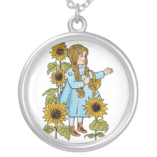 Vintage Wizard of Oz Fairy Tale Dorothy Sunflowers Pendants