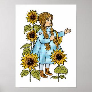 Vintage Wizard of Oz Fairy Tale Dorothy Sunflowers Print