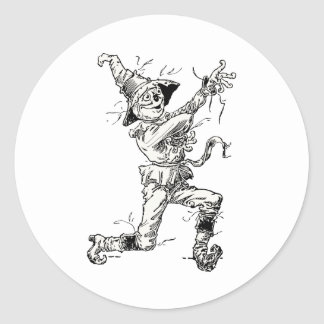 Vintage Wizard of Oz Fairy Tales, the Scarecrow Classic Round Sticker