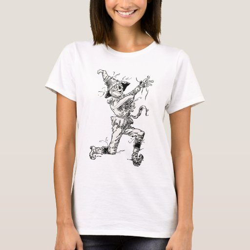 Vintage wizard of oz fairy tales the scarecrow t shirt for Wizard t shirt printing