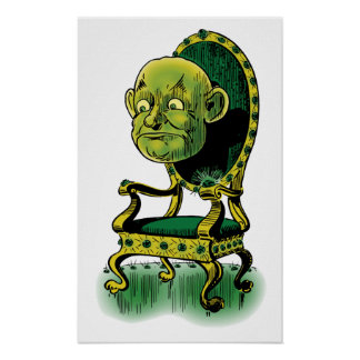 Vintage Wizard of Oz, Grumpy Wizard Emerald Throne Print