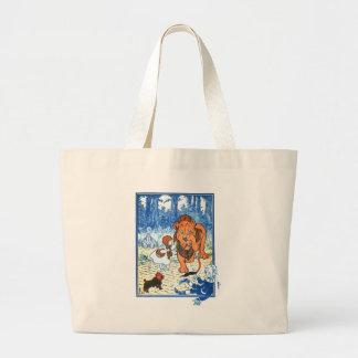 Vintage Wizard of Oz Illustration - Dorothy & Lion Large Tote Bag