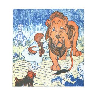 Vintage Wizard of Oz Illustration - Dorothy & Lion Notepad