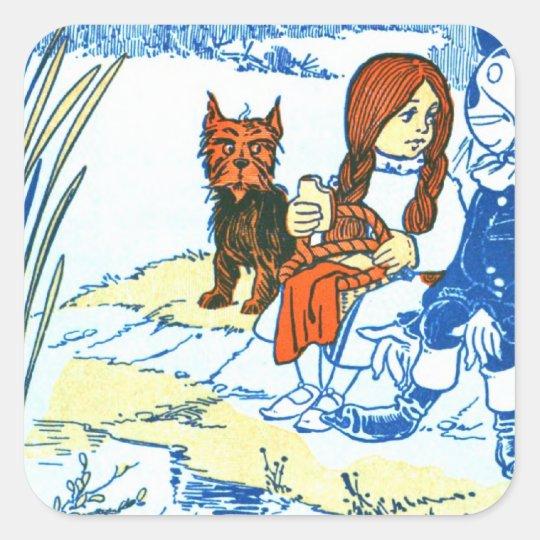 Vintage Wizard of Oz Illustration - Pond Square Sticker