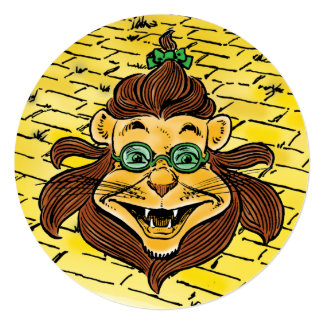 Vintage Wizard of Oz Lion, Child Birthday Party Card