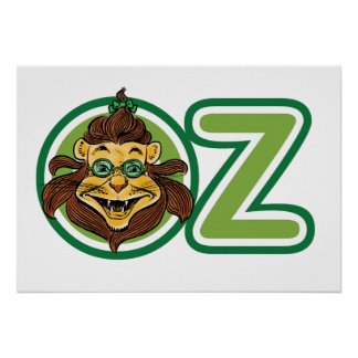 Vintage Wizard of Oz, Lion in the Letter O Poster