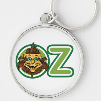Vintage Wizard of Oz, Lion Inside Letter O Silver-Colored Round Keychain