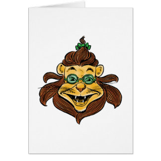 Vintage Wizard of Oz, Lion Wearing Green Glasses Card
