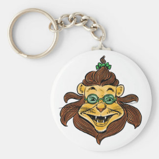 Vintage Wizard of Oz, Lion Wearing Green Glasses Keychain