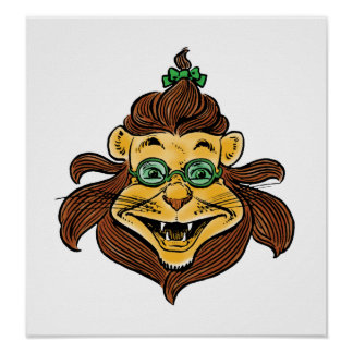Vintage Wizard of Oz, Lion Wearing Green Glasses Poster