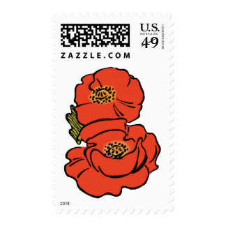 Vintage Wizard of Oz Red Poppies in Bloom Spring Postage