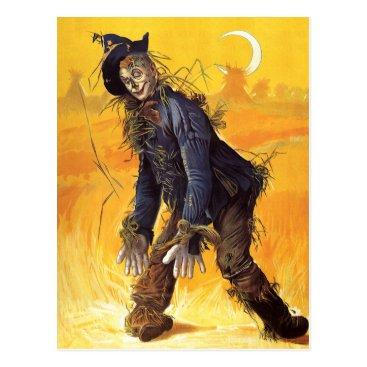 Halloween Themed Vintage Wizard of Oz Scarecrow Postcard
