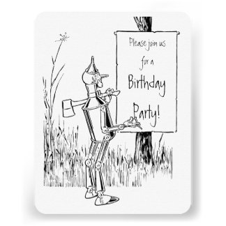 Vintage Wizard of Oz. Tinman and Lion Birthday Custom Invite
