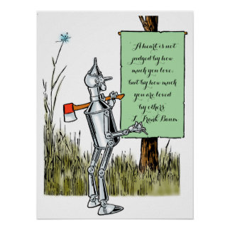 Vintage Wizard of Oz, Tinman Reading Sign Poster