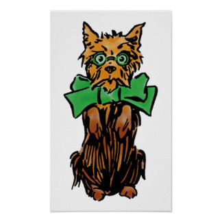 Vintage Wizard of Oz Toto Dog with Green Bow Poster